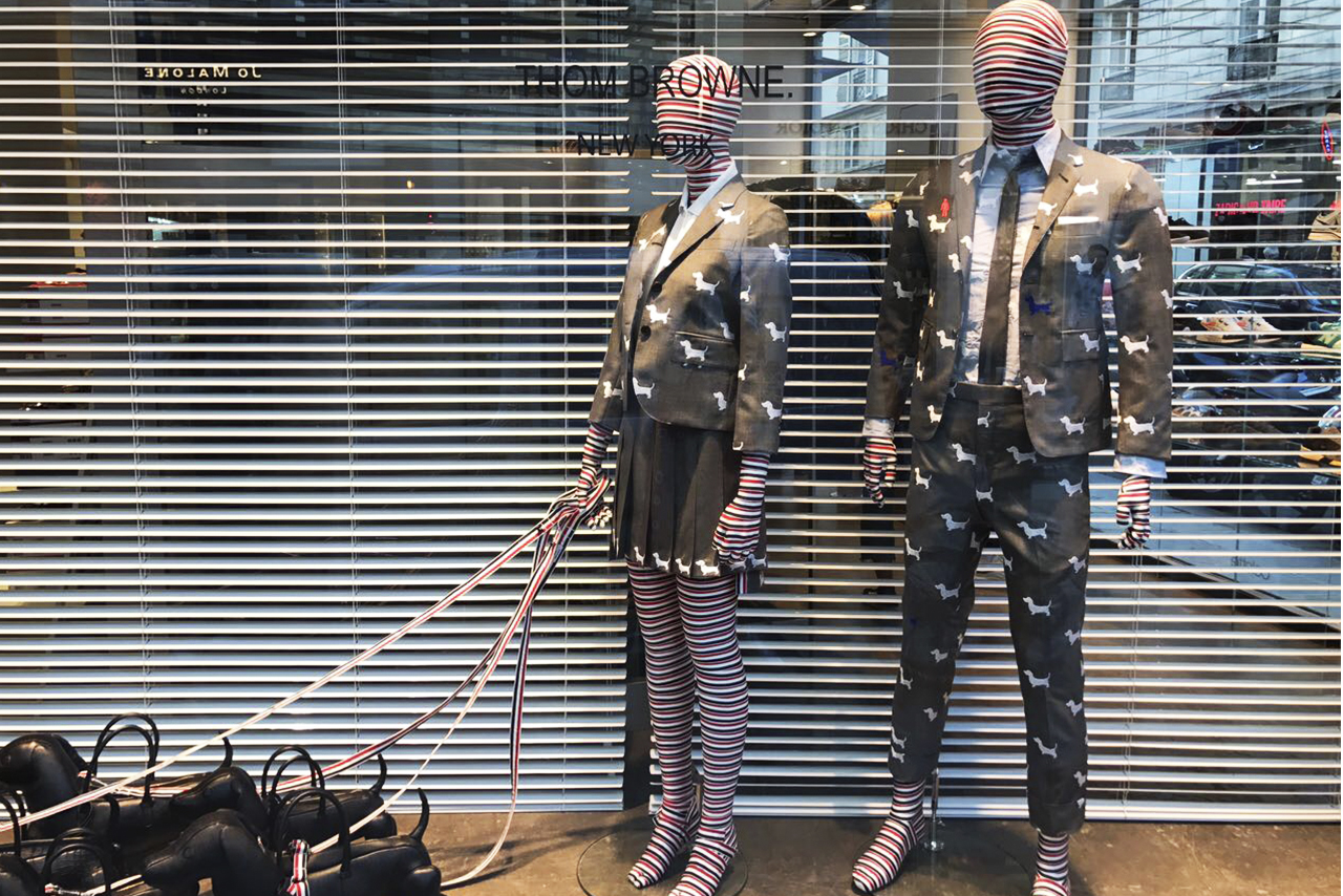 8016cbf0bb87d4 Thom Browne creates a special exhibition with Colette (which will close its  doors after 20 years). The American designer is the fourth to join this  type of ...